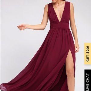 Heavenly hues maroon lulus maxi dress XL